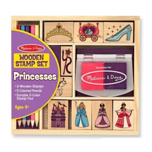 Melissa & Doug Fa nyomda készlet ceruzákkal, hercegnők