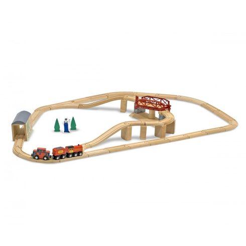 Melissa & Doug Fa vonatok és sínek, Vonat és sínek és kiegészítők, 47 db-os szett