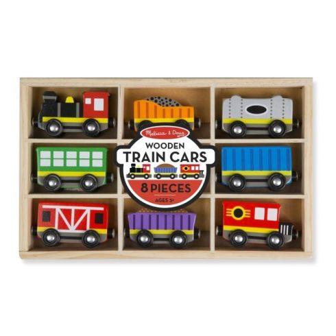 Melissa & Doug Fa vonatok és sínek, Vonatszerelvények 8 db