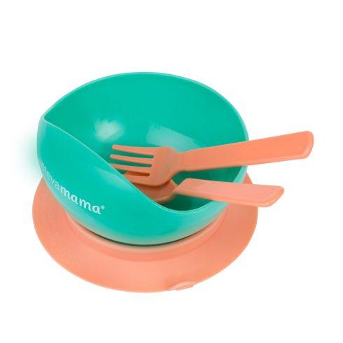 Clevamama Tapadó aljú tányér kanállal és villával - Menta/Narancs